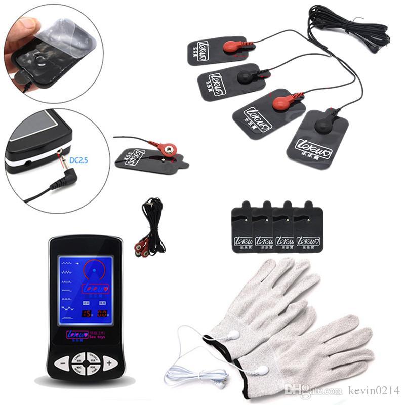 Jouets électriques avec gants Massage Tampons de massage Corps Massager Pulse Physiothérapie Electric Sex Toys pour Hommes I9-1-238