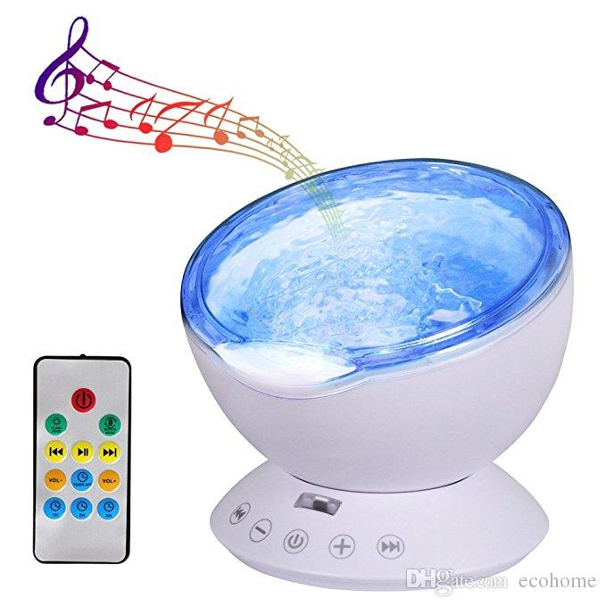 Ocean Wave Projector Lamp Night Light with Remote Control Music Player Romantic 7 Color Changing for Party Decorations Kids Bedroom