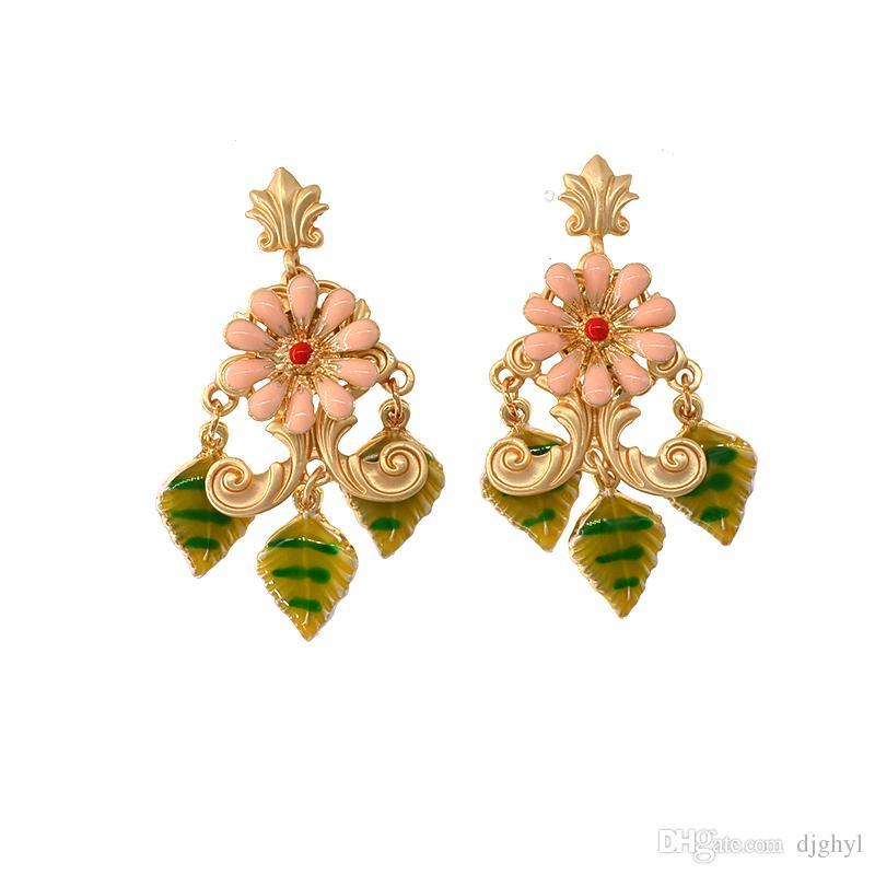Vintage Drop Flower Earrings Round Circle Shape Cute Pink Color Crystal Green Leaf Earrings Jewellry for Ladies Girls