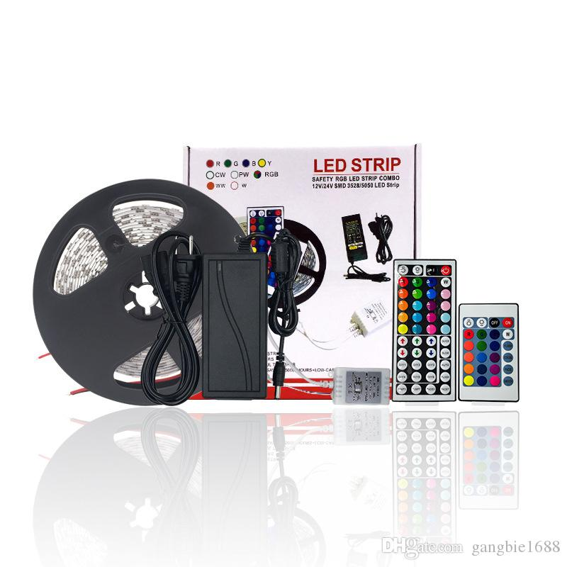 DC12V LED Strip Set 5 Meter Flexibles Licht LED Strip Licht RGB Farbe LED Strip 5050 RGB 44Key Controller + 12 V Netzteil Weihnachten Decorat