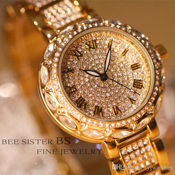 Temperament lady fashion trend personality Roman numeral full diamond quartz watches