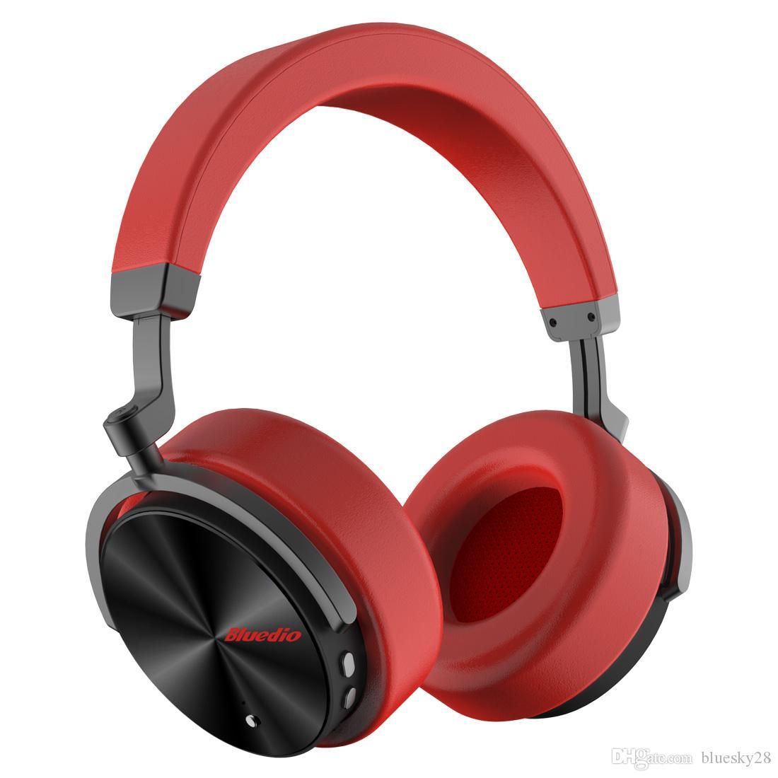 최신 Bluedio T5 액티브 소음 취소 무선 블루투스 헤드폰 휴대용 헤드셋 마이크 전화 및 음악