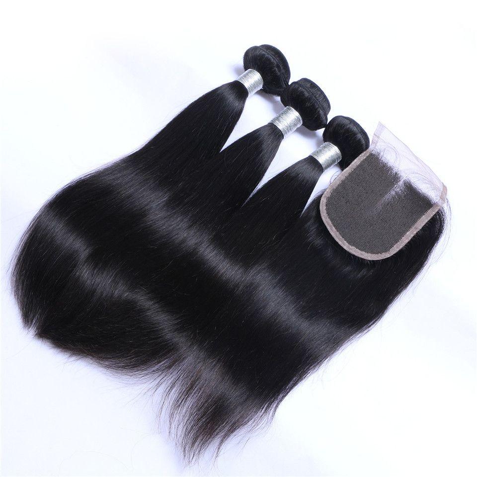 브라질 스트레이트 헤어 짜는 3BLES 폐쇄 무료 중간 3 부분 더블 웨씨 인간의 머리카락 확장 염소 100g / 번들