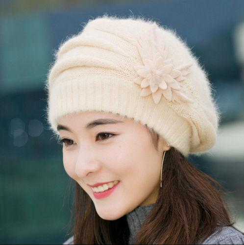 Women Lady Winter Warm Knitted Crochet Slouch Baggy Beret Beanie Cotton Hat Cap Black Red White