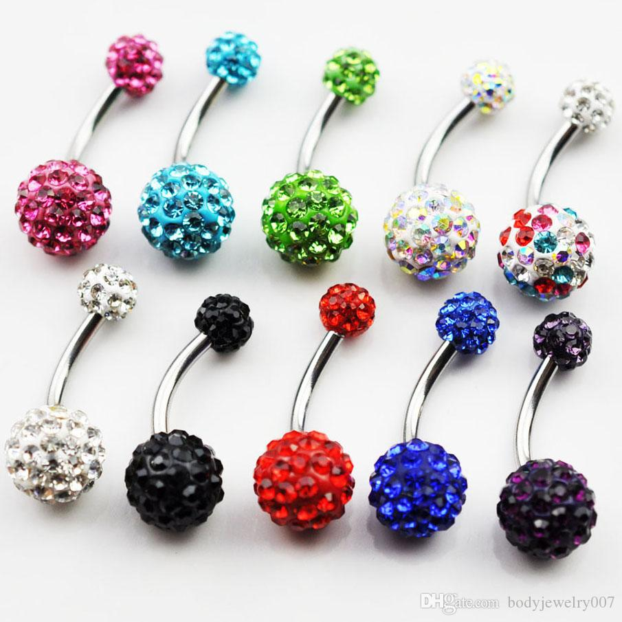 D0181 (5 renkler) Mücevherli taşlar 14G 11mm uzunluk göbek düğmesi göbek halkaları ile karışım renkleri