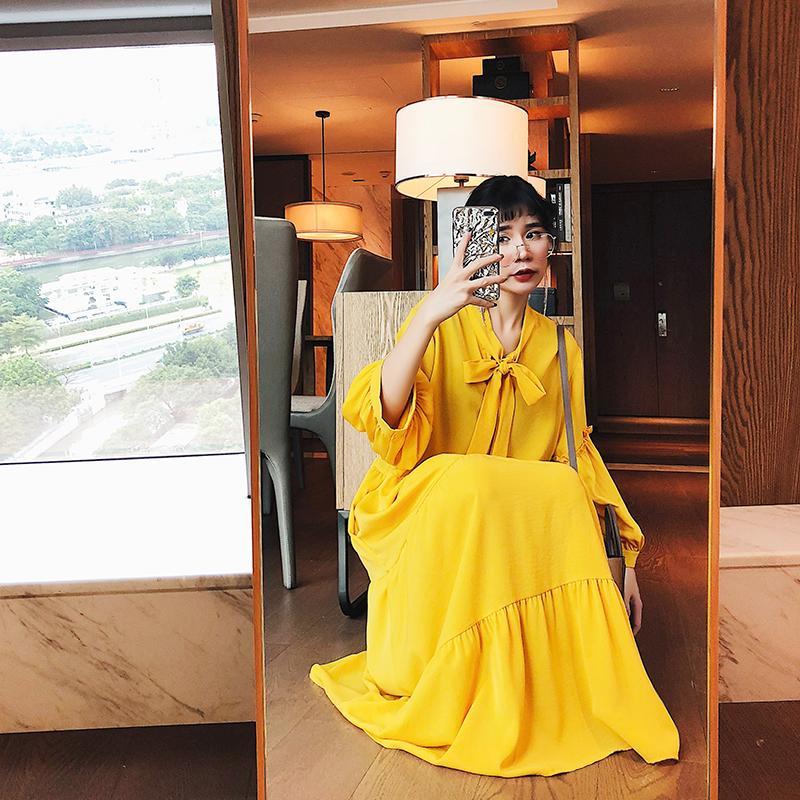 Parti Elbiseler Kore Kadınlar Uzun Elbise Düz Renk Ilmek Fener Kollu Chic Giyim 2021 İlkbahar Sonbahar Moda Trend Dış Giyim DressMQ0106