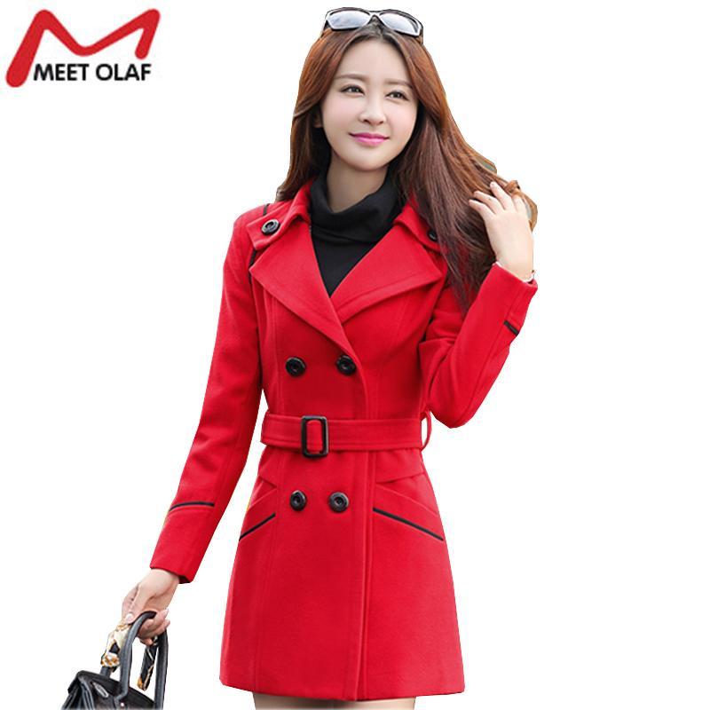 Женщины шерстяные пальто 2017 новый женский зимние куртки элегантный полушерстяные пальто дамы ветровка верхняя одежда плюс размер 3XL YL159 S18101203