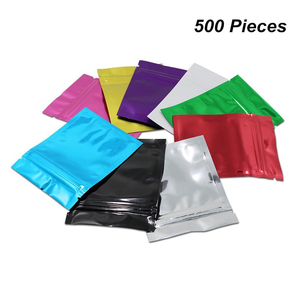 DHL 14x20 cm 9 cores 500 Pcs Alumínio Food Storage Bags Mylar Foil Resealable Coffee Tea pó embalagem Pouch Mylar Bags