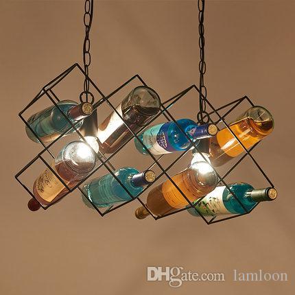 La botella de vino retro llevó las lámparas de las lámparas de las lámparas pendientes para la decoración artística creativa de la iluminación del colgante del restaurante del hotel del club de club