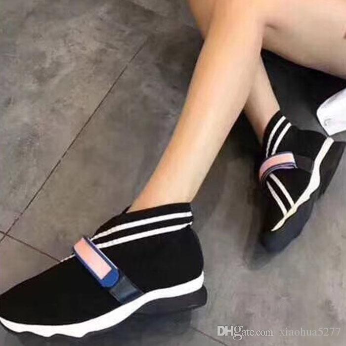 2019haute qualité dames de mode nouvelles européennes et américaines tricotées chaussures de sport casual personnalité de haute qualité dames de haute qualité chaussures plates