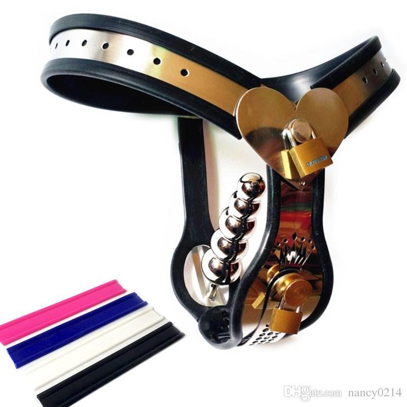 Cintura di castità in acciaio inox Cintura di castità femminile con spina anale T tipo castità Underpant Giocattoli per adulti per le donne BDSM Bondage G7-5-55