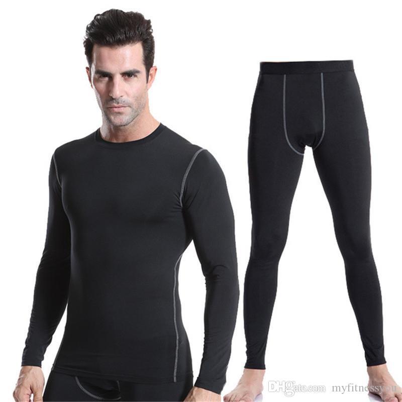 Men Sport Running Sets Compression Long T Shirt Pants Suit for Men Soccer Training Football Skinny Gym Legging Pants Tracksuits Sportswear
