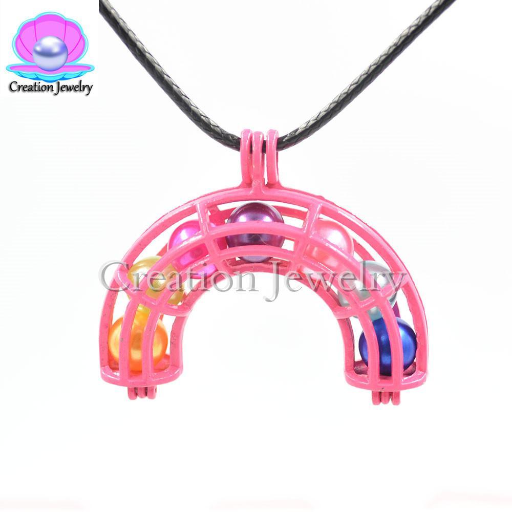 al por mayor de la mezcla de color rosa jaulas de alta calidad diseña jaulas de color rosa perlas colgante de diseño de la mezcla medallones encantos pendientes