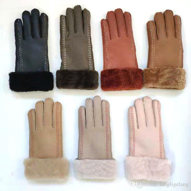 Whole Sale- Fashion Sheepskin Women Gloves Designer Fur Leather Five Fingers Gloves Solid Color Winter Outdoor Warm Mittens Free Shipping