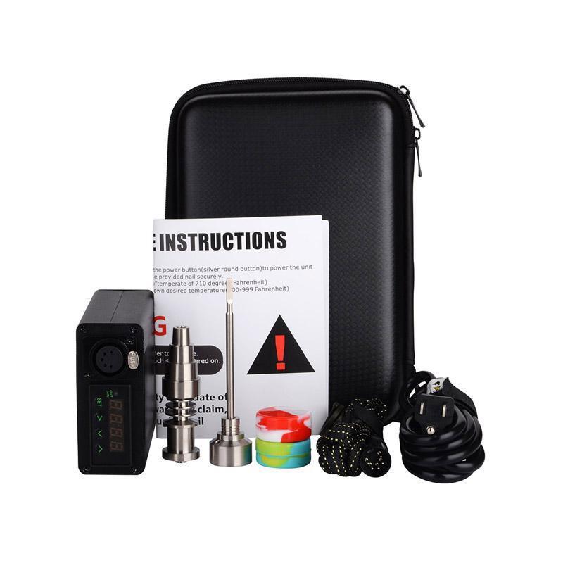 Tragbare Titanium enail Elektro dab Nagel PID-Temperaturregler E-Nagel Dnail Kit Wachs Verdampfer 16MM 20MM Bohrinsel dabber Box Glasbong