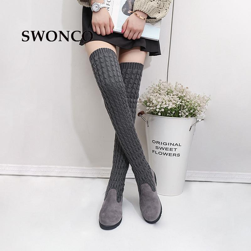 Compre SWONCO Botas Altas Para Mujer 2018 Otoño Invierno Lana De Tejer Calzado De Damas Botas Altas Para Mujer Botas Largas Para Mujer Botas De Mujer