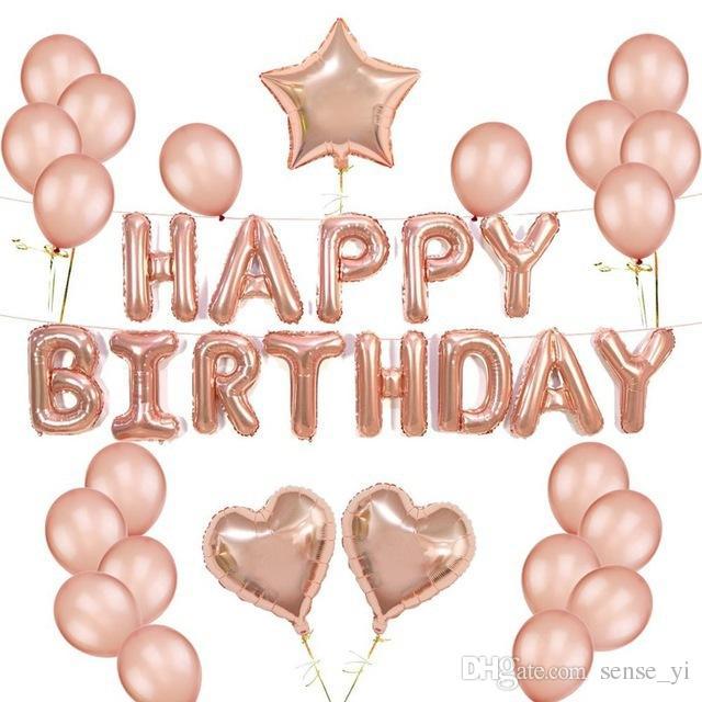 Pink Happy Birthday Foil 풍선 편지 Alphabe Helium 공기 풍선 풍선 아이들 장난감 파티 생일 아이 성인 이벤트 파티 용품