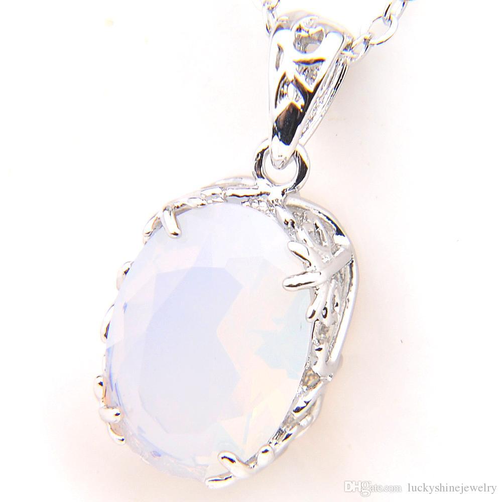 LuckyShine 10 * 14mm Shine regalo Familia óvalo blanco Moonstone de la piedra preciosa collares de plata para las mujeres Los colgantes del encanto de la fiesta de boda caliente de 10 pares