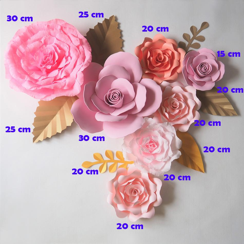 Dev Kağıt Çiçekler Zemin Yapay El Yapımı Krep Kağıt Gül 7 ADET + Yapraklar Için 6 ADET Düğün Parti Deco Ev Dekorasyon