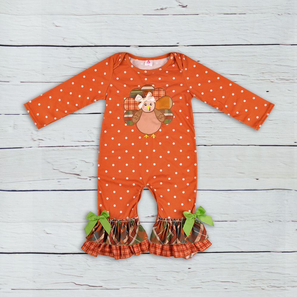 Dias de Ação de Graças Roupas Infantis Bebê Outfit Turquia Padrão Outono Macacões Algodão Recém-nascido Menina Boutique Roupas GPF807-207 Y18102008