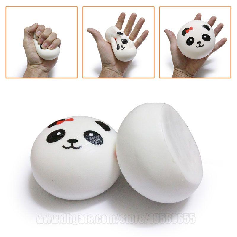 Simplicidade Estilo mole Panda Squishies Bun 10 centímetros Jumbo lenta Nascente Phone Strap Big Pão DHL frete grátis SQU049