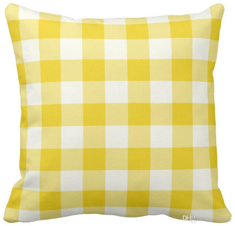 Lemon Yellow Outdoor Pillows Gingham Pattern Discount Patio Chair Cushions Buy Outdoor Cushions From Bueaty Price Dhgate Com