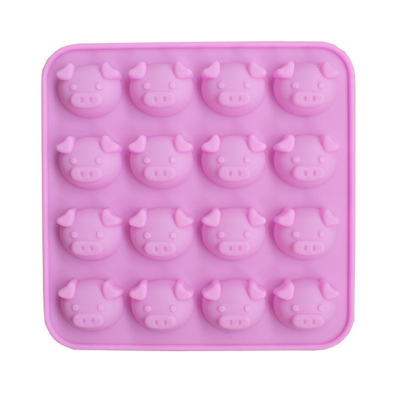 خنزير رئيس سيليكون قالب الكعكة 16 ثقوب الكرتون واحدة التعبير خنزير رئيس diy الشوكولاته نموذج دليل الصابون صبغ