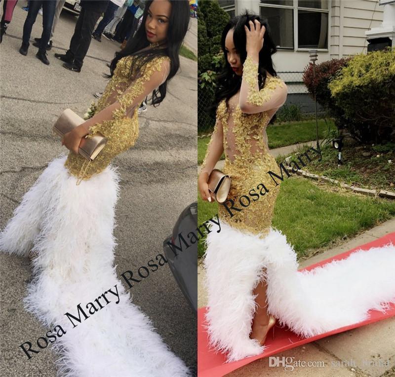 Lüks Altın Dantel Tüy Mermaid Gelinlik Modelleri 2K18 Uzun Kollu Artı Boyutu Sırf Siyah Kızlar Afrika Arapça Kızlar Pageant Örgün Akşam elbise