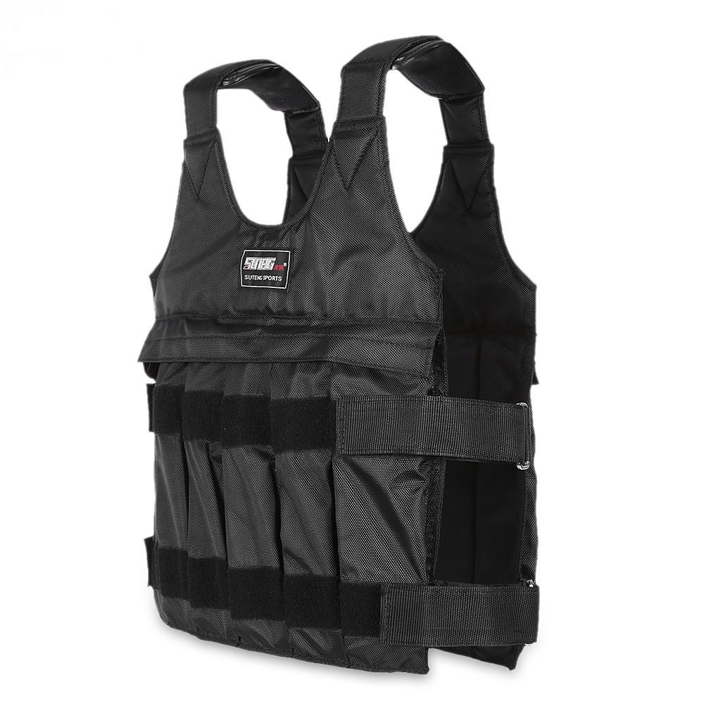50 kgYükleme Boks Koşu Eğitim Vücut Ekipmanları Için Ağırlıklı Yelek Ayarlanabilir Egzersiz Yelek Siyah Ceket Swat Sanda Müsabaka Korumak