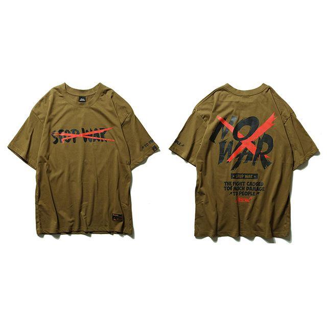 4 couleurs NO WAR T-shirt imprimé d'été Nouveau T-shirts Anti Guerre Hommes Hip Hop Casual manches courtes T-shirts Tops Streetwear T-shirts