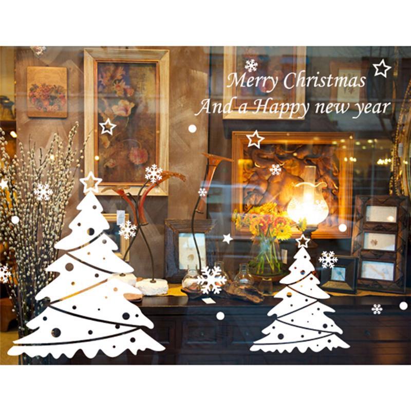 Noël blanc arbre noël nouvel an magasin fenêtre fenêtre sticker décorations