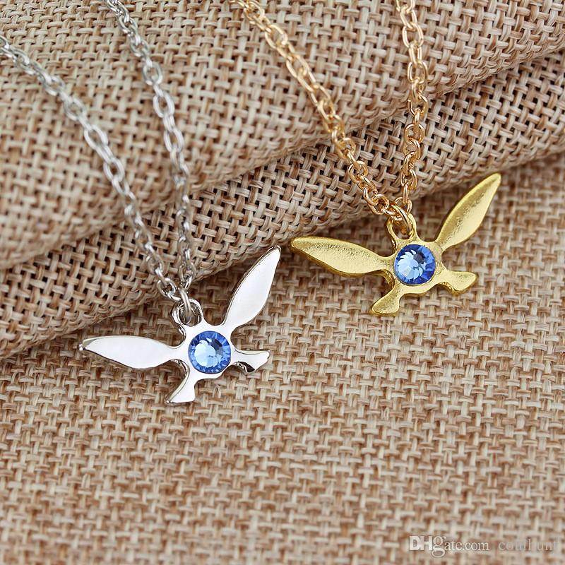The Legend of Zelda Necklace Crystal Zelda Navi Necklace Fairy Geek Zelda Triforce Butterfly Shape Necklace Game Jewelry for Women Men