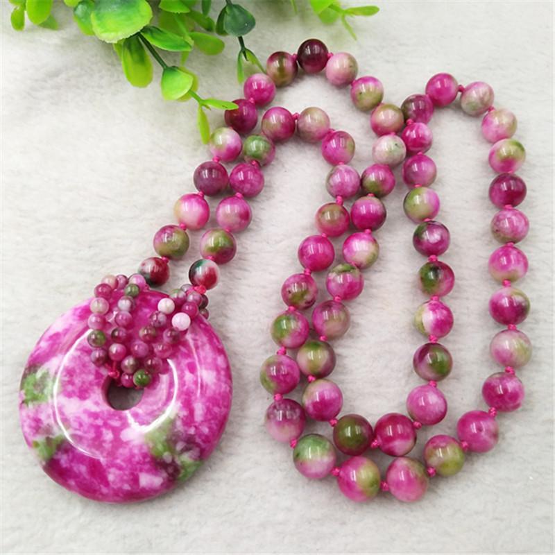 Qinghai pêche fleur jade rouge pendentif boucle sécurité chaîne chandail perle ronde de la mode exquise