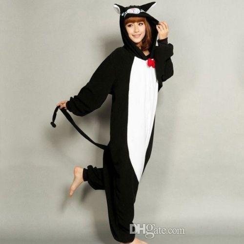 Hot Cute Interesting Black Cat Unisex Adult Pajamas Anime Cosplay Costume Animal Onesie Sleepwear