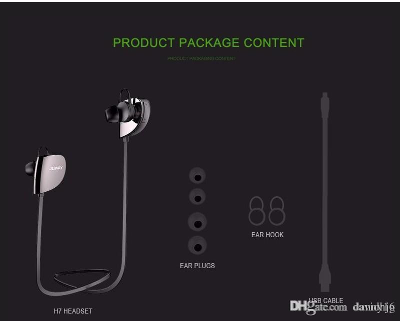 Оригинал JOWAY H07 Спорт Беспроводная Bluetooth-гарнитура V4.1 Стерео наушники с микрофоном Для iphone 6 для Samsung note 7 телефонов Xiaomi