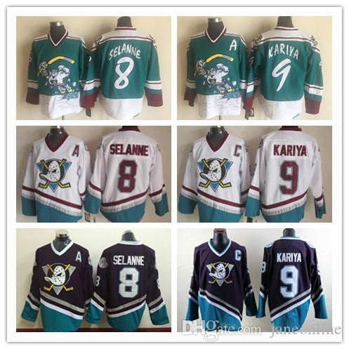 brand new 9900d 92fd4 Vintage Anaheim CCM Mighty Ducks Wild Wing Jersey 9 Paul Kariya 8 Teemu  Selanne Retro Best Stitched Hockey Jersey