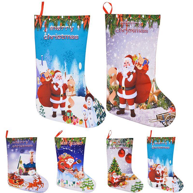 Christmas Stocking Gift Bags Felt Cloth Christmas Tree Sock Xmas Candy Storage Bag Festive Party Supplies Xmas Decorations Free DHL WX9-786