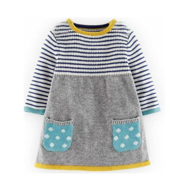 2018 Autumn Winter New Girls sweater dress Kids Baby Sweater Children Clothing Cotton Knitted skirt stripe Jumper Pullover