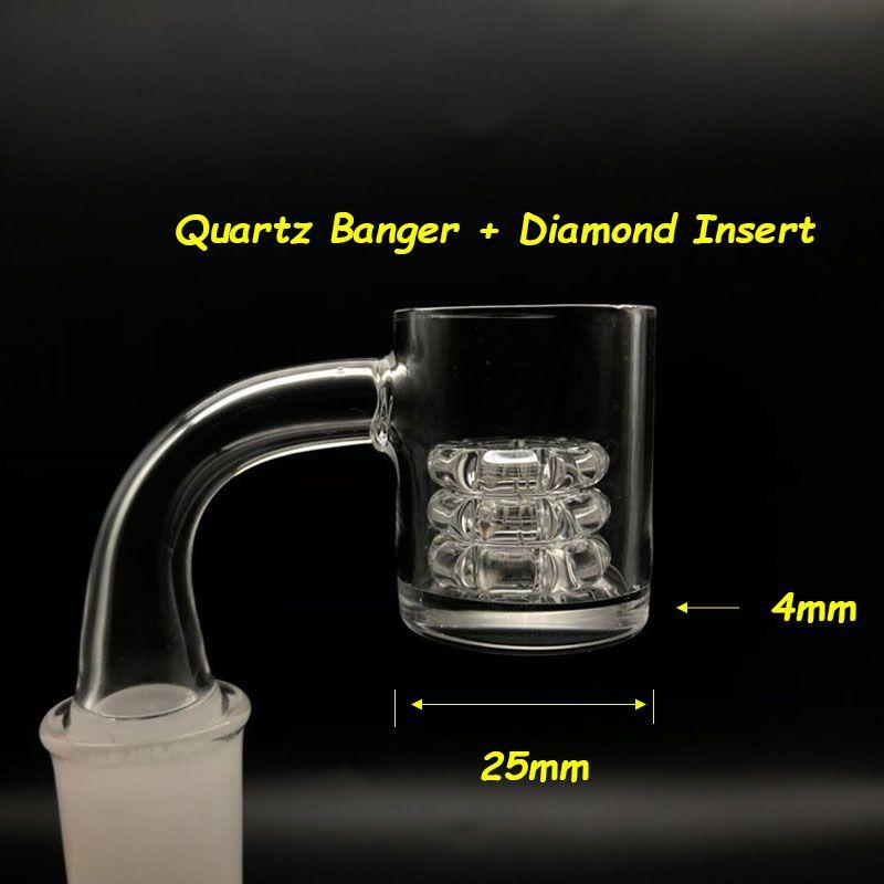 2mm Wall 4mm Bottom Quartz Banger With Diamond Insert Flat Top Quartz Banger Male Female 10mm 14mm 18mm 45 90 Quartz Banger Nails