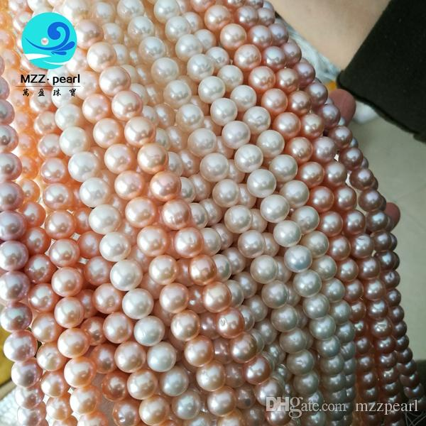 """cheap price 16"""" 9-10 mm natural real freshwater off round white pink lavende strand pearl necklace loose for wholesale"""