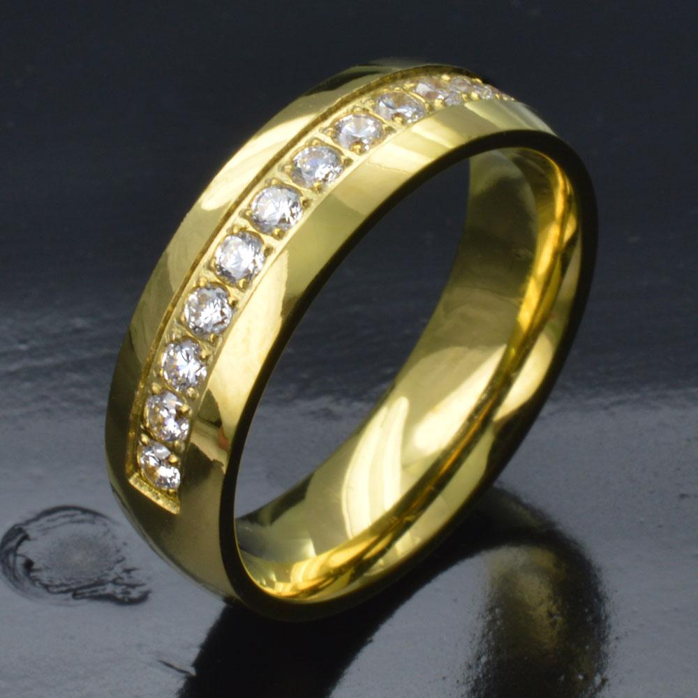 Women Gold Tone Stainless Steel CZ Wedding Engagement Ring Band R276B SIZE M-S