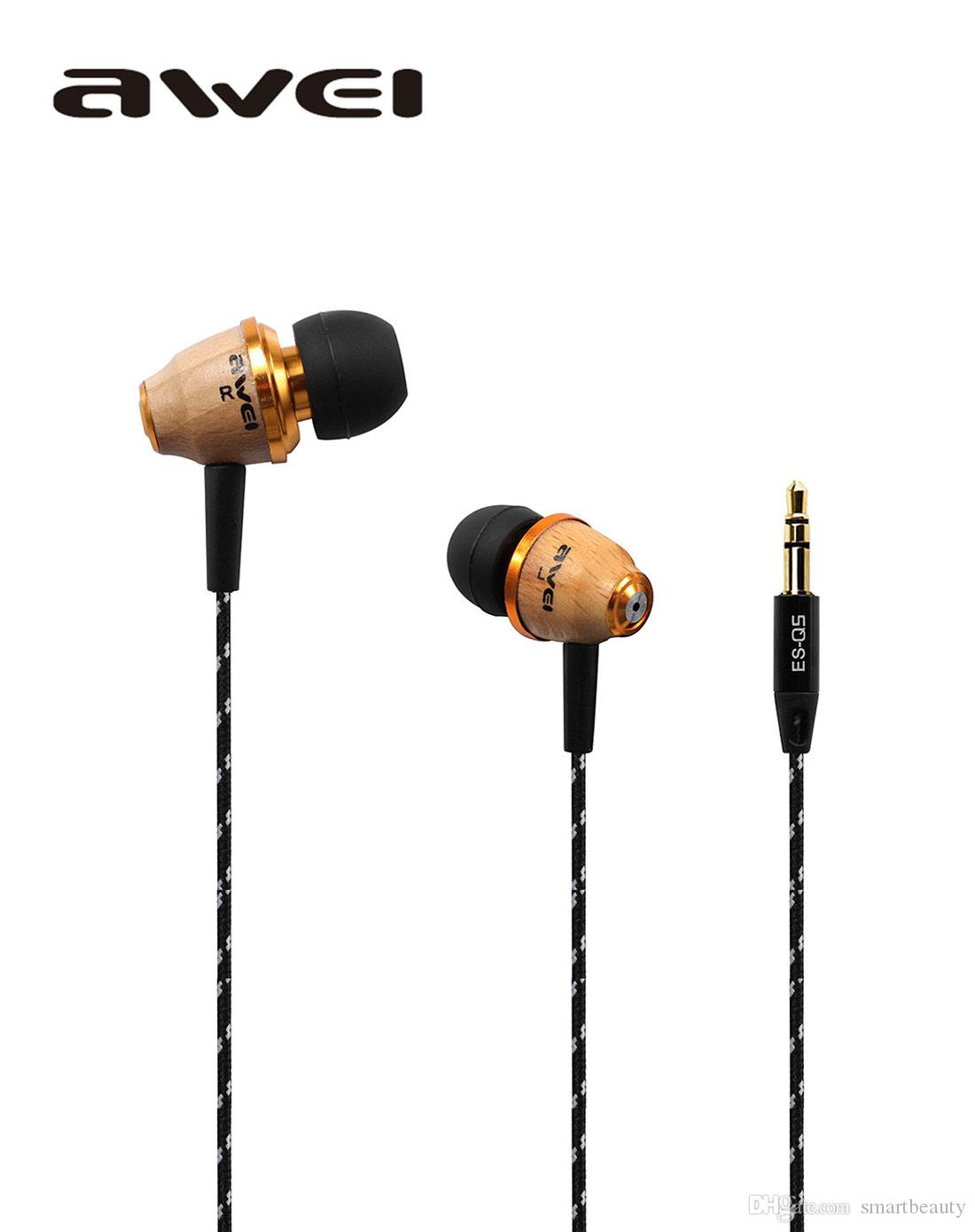 Original AWEI Stereo Wood Noise Isolation Earphones Earbuds For mp3 mp4 Player cell Phone ES Q5