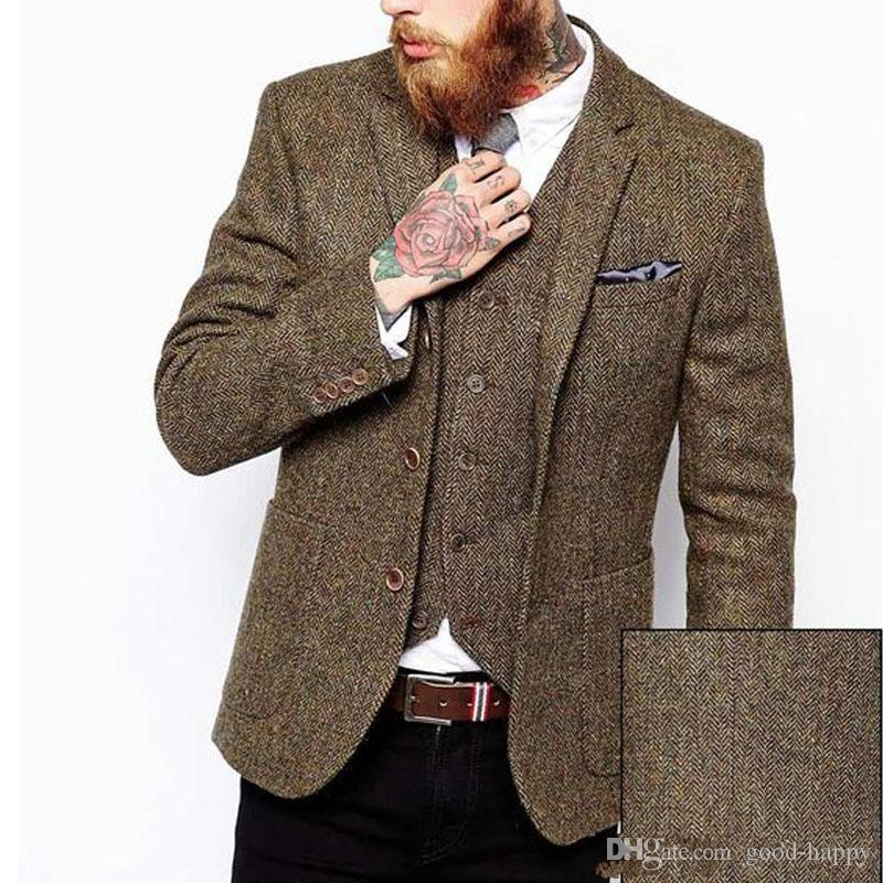Wiosna Zima Moda Browntweed Groom Tuxedos Man Blazer Notch Lapel Trzy Przycisk Mężczyzn Business Dinner Prom Suit (Kurtka + Spodnie + Kamizelka + Kamizelka) 1153