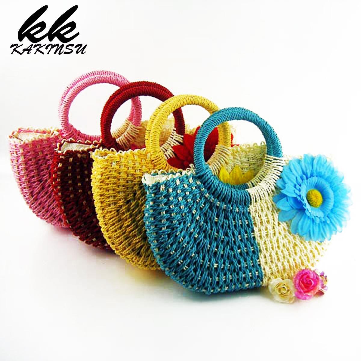 Straw Bags Woven Women's Handbags Designer Beach Weaving Bag Summer Travel Totes Ladies Handbag Knitting Shopping Handmade Bag
