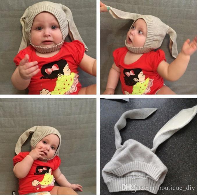 INS SıCAK SATıŞ! Kış Bebek Tavşan Kulaklar Örme Şapka Bebek bunny Çocuklar Için Kapaklar 0-3 T Kız Erkek şapka Fotoğraf Sahne 6 renkler