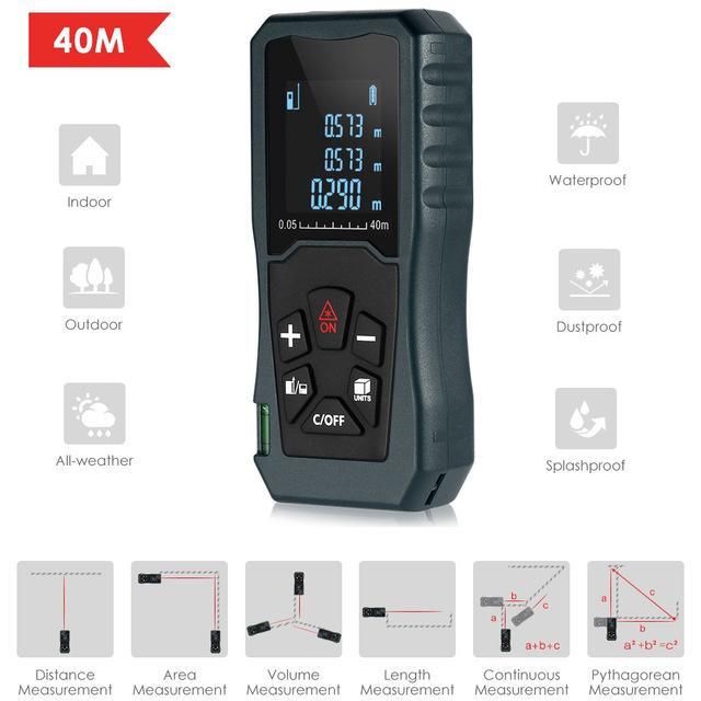 40 متر مسافة متر الليزر متعددة يده rangefinder ip54 الليزر مسافة متر حاكم قياس الشريط المسافة كيال شحن مجاني vb