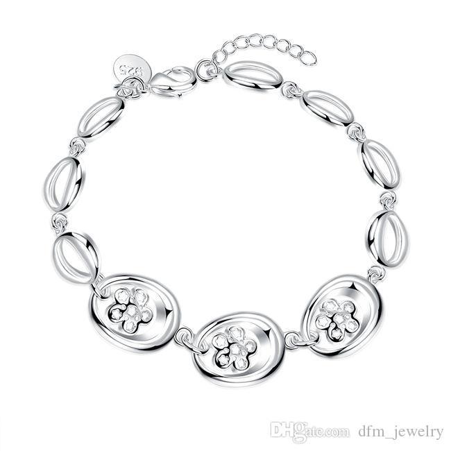 Nueva llegada de tres de plata esterlina pulsera de flores pulsera plateada SPB477;! Pulseras del encanto de plata 925 hombres de la moda de alta quatity y mujeres