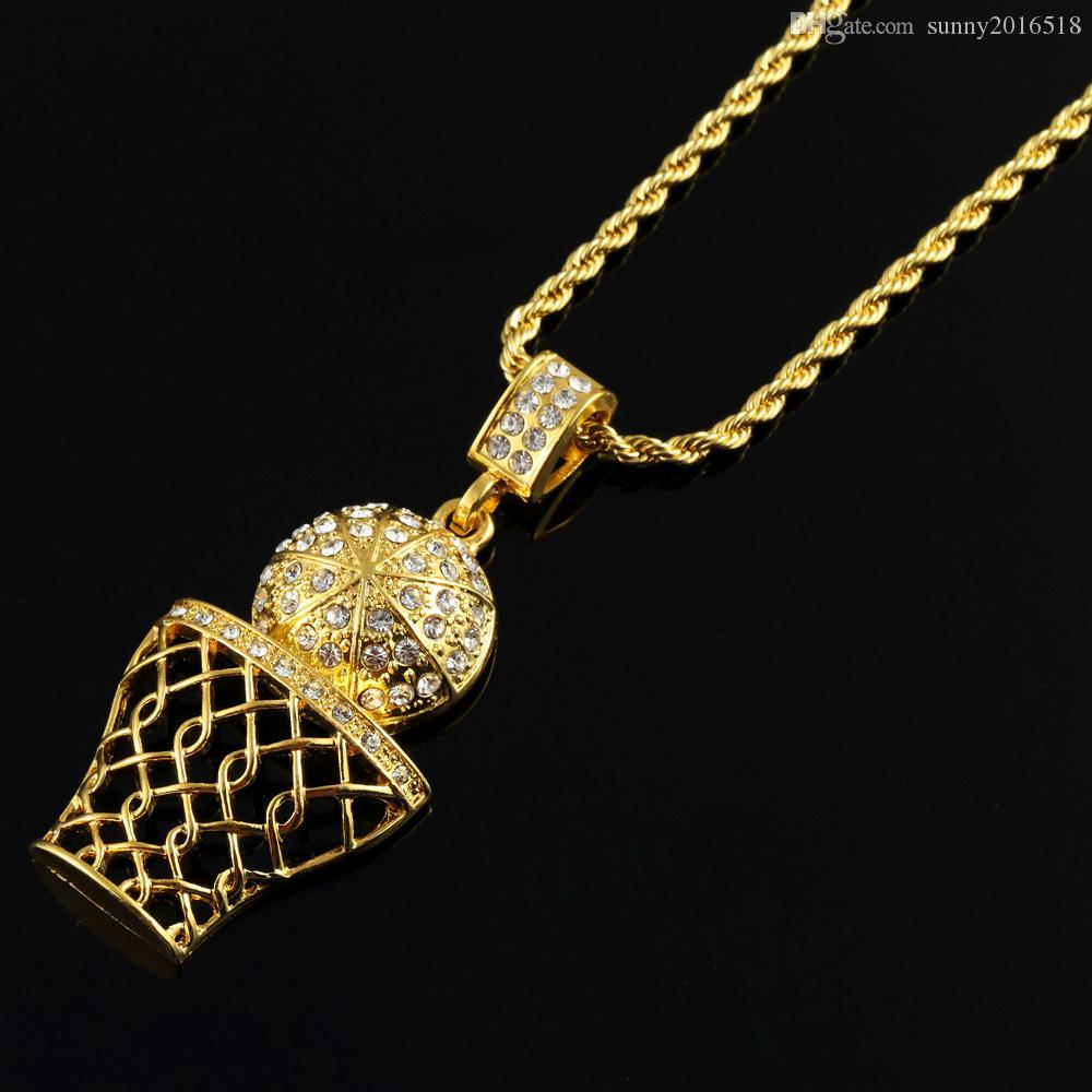 Fashion Hip Hop Iced Out 14K Gold Plated Mini Basketball Rim Pendant Necklace Long Chain Necklaces Mens Jewelry Gold Silver 2 Colors