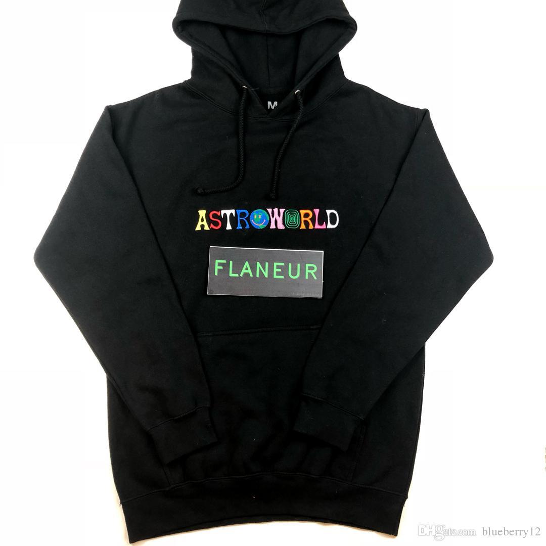 2019 Astroworld 까마귀 남성 높은 품질의 양털 스웨터 무료 배송 자수 힙합 풀오버 새로운 트래비스 후드
