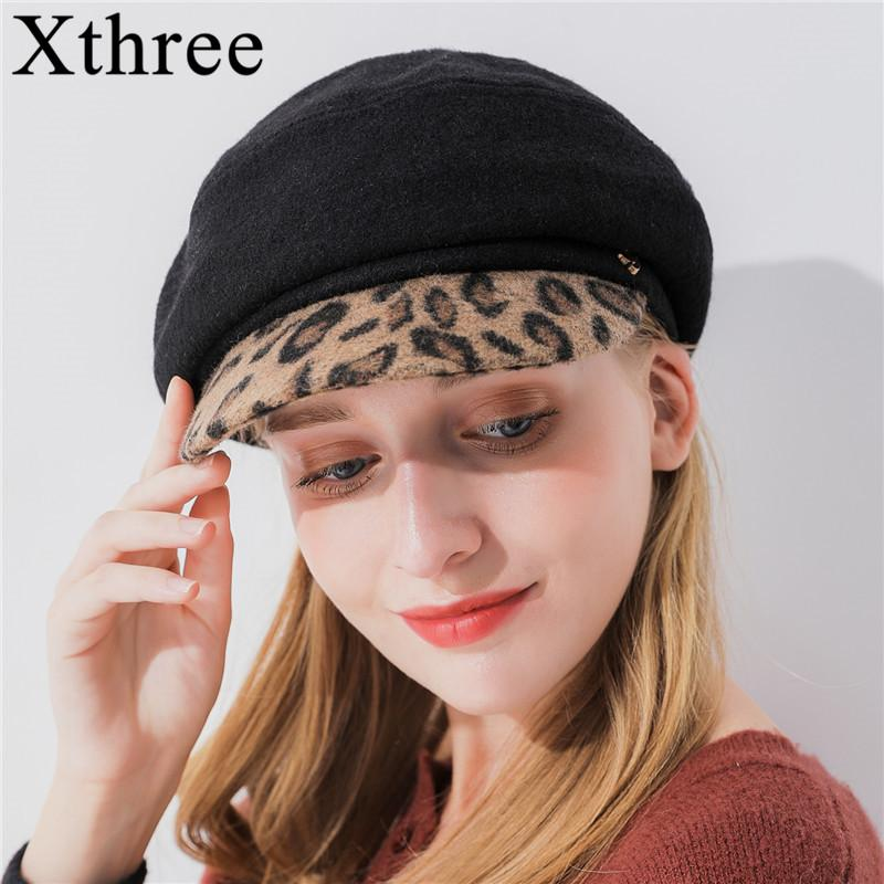 2eccbfd956f5d 2019 Xthree Women'S Wool Octagonal Cap Winter Hat With Leopard Print Visor  Fashion Newsboys Hat Girl Autumn For Women From Boiline, &Price; | ...